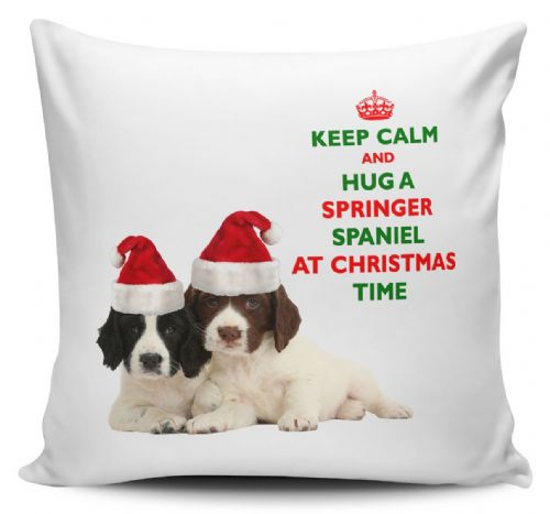 Christmas Keep Calm And Hug A Springer Spaniel Novelty Cushion Cover